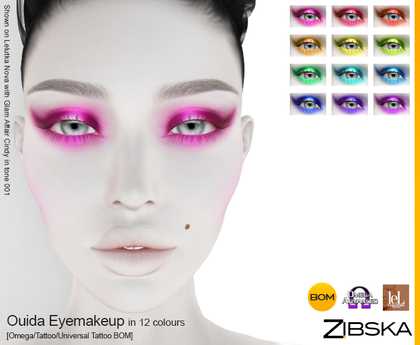 Zibska ~ Ouida Eyemakeup in 12 colors with Omega appliers, tattoo and universal tattoo BOM layers