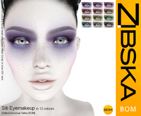 Zibska BOM Pack ~ Siti Eyemakeup in 12 colors with tattoo and universal tattoo BOM layers