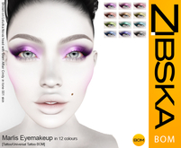 Zibska BOM Pack ~ Marlis Eyemakeup in 12 colors with tattoo and universal tattoo BOM layers