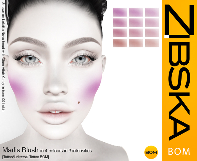 Zibska BOM Pack ~ Marlis Blush in 4 colors in 3 intensities tattoo and universal tattoo BOM layers