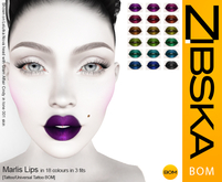 Zibska BOM Pack ~ Marlis Lips Lips in 18 colors in 3 fits with tattoo and universal tattoo BOM layers
