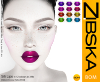 Zibska BOM Pack ~ Siti Lips in 12 colors in 3 fits with tattoo and universal tattoo BOM layers