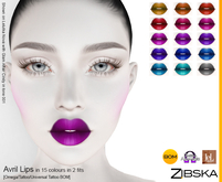 Zibska ~ Avril Lips Lips in 15 colors in 2 fits with Omega appliers, tattoo and universal tattoo BOM layers