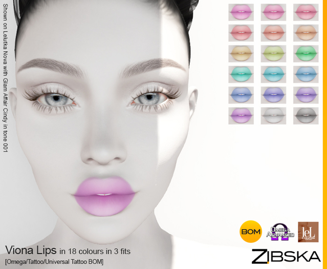 Zibska ~ Viona Lips in 18 colors in 3 fits with Omega appliers, tattoo and universal tattoo BOM layers