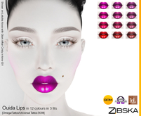 Zibska ~ Ouida  Lips in 12 colors in 3 fits with Omega appliers, tattoo and universal tattoo BOM layers