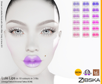 Zibska ~ Lule Lips in 18 colors in 3 fits with Omega appliers, tattoo and universal tattoo BOM layers