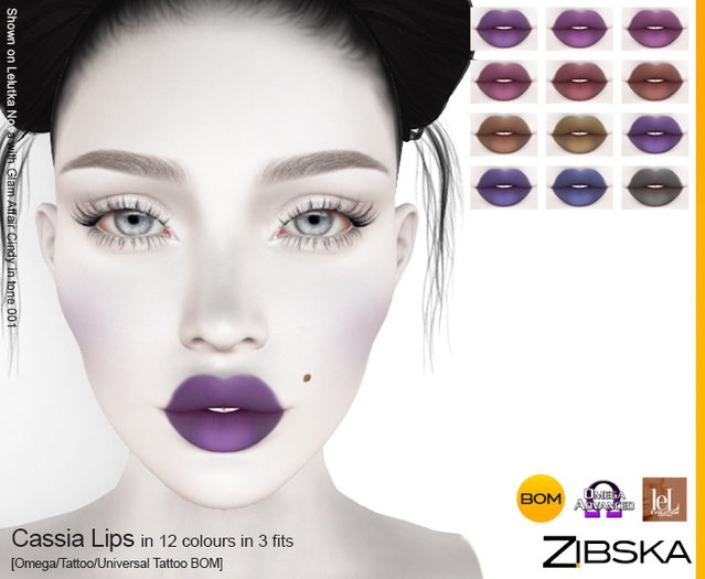 Zibska ~ Cassia Lips in 12 colors in 3 fits with Omega appliers, tattoo and universal tattoo BOM layers