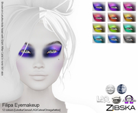 Zibska Filipa Eyemakeup in 12 colors with Lelutka, genus, laq, catwa, omega appliers and tattoo BOM layers