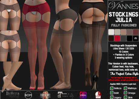 VANNIES Nylon Stockings Julia Fully Fashioned (Applier HUD + BoM) (Belleza, Legacy, Maitreya, Slink, Omega + Classic Av)