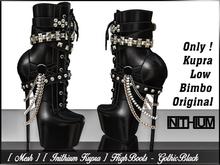 [ Mesh ] [ Inithium Kupra ] High Boots - Gothic Black