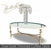 [BR] Oval Gold Trimmed Coffee Table