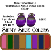 Miss Ing's Dinkie Texturable Ankle Strap Shoes - Shiny