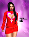 XK Maitreya Open Hearts Mini Dress Red