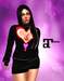 XK Maitreya Open Hearts Mini Dress Black