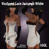 [Sassy Kitty Designs] Unzipped Lace Jumpsuit White