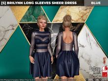 [S] Brilynn Long Sleeves Sheer Dress Blue