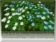 Mesh Wild Flower Anemone by Felix 6 Shape 5 Colors 1 Li c-m