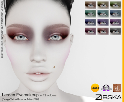 Zibska ~ Lerden Eyemakeup in 12 colors with Omega appliers, tattoo and universal tattoo BOM layers