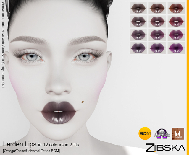Zibska ~ Lerden Lips Lips in 12 colors in 2 fits with Omega appliers, tattoo and universal tattoo BOM layers