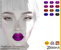 Zibska ~ Phyllis Lips in 12 colors in 2 fits with Omega appliers, tattoo and universal tattoo BOM layers