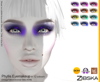 Zibska ~ Phyllis Eyemakeup in 12 colors with Omega appliers, tattoo and universal tattoo BOM layers