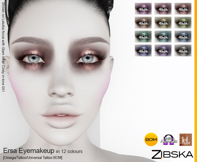 Zibska ~ Ersa Eyemakeup in 12 colors with Omega appliers, tattoo and universal tattoo BOM layers