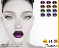 Zibska ~ Ersa Lips in 12 colors in 2 fits with Omega appliers, tattoo and universal tattoo BOM layers
