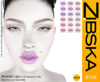 Zibska BOM Pack ~ Alverad Lips Lips in 18 colors in 3 fits with tattoo and universal tattoo BOM layers