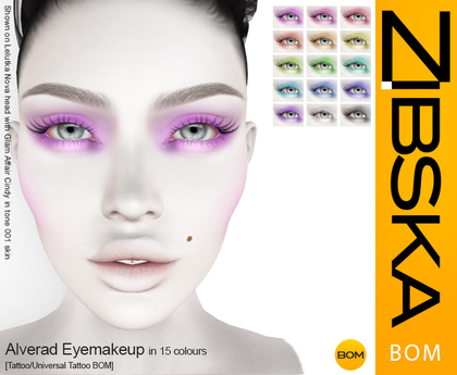 Zibska BOM Pack ~ Alverad Eyemakeup in 15 colors with tattoo and universal tattoo BOM layers