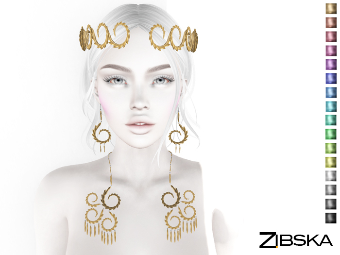 Zibska ~ Alverad color change circlet, earrings and necklace