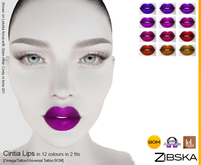 Zibska ~ Cintia Lips in 12 colors in 2 fits with Omega appliers, tattoo and universal tattoo BOM layers