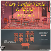 *PC* Cosy Coffee Table & Stools Boho Pack