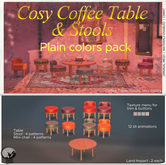 *PC* Cosy Coffee Table & Stools Plain Color Pack