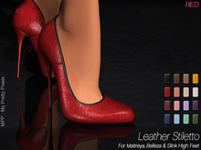 - MPP Mesh - Leather Stiletto - Red