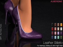 - MPP Mesh - Leather Stiletto - Aubergine