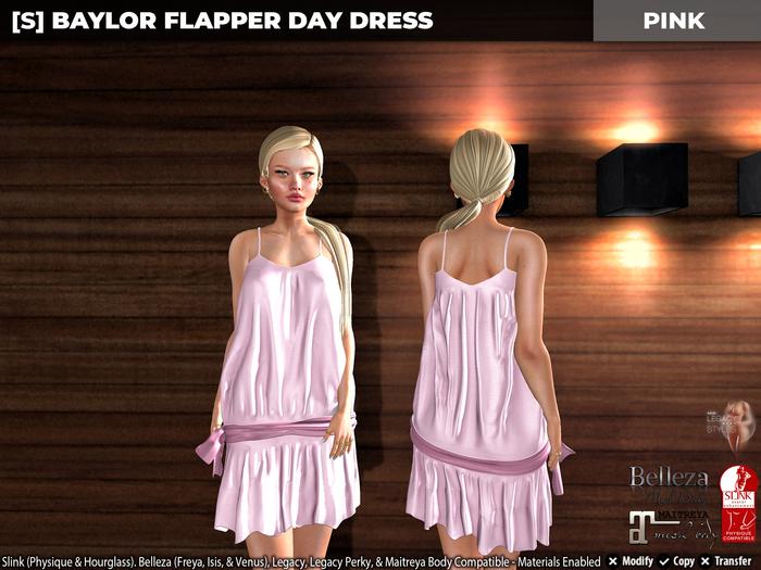 [S] Baylor Flapper Day Dress Pink