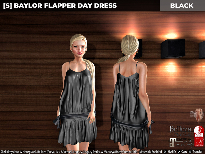 [S] Baylor Flapper Day Dress Black