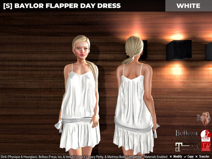 [S] Baylor Flapper Day Dress White