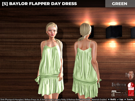 [S] Baylor Flapper Day Dress Green