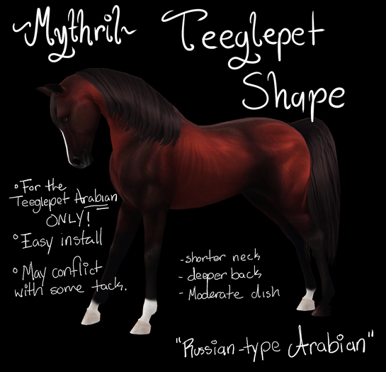 ~Mythril~ Teeglepet Shape: Russian Arabian (TPet Arabian ONLY)