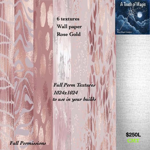 @***Full Perm Rose Gold wallpaper 512 textures-Box