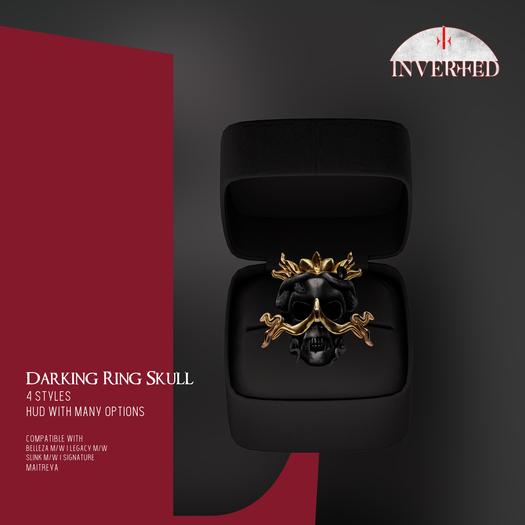 +INVERTED+ Darking Ring Skull -Black-