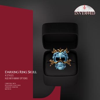 +INVERTED+ Darking Ring Skull -Blue-