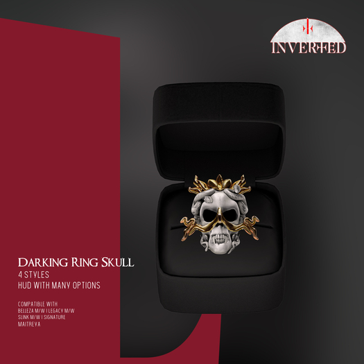 +INVERTED+ Darking Ring Skull -Bone-