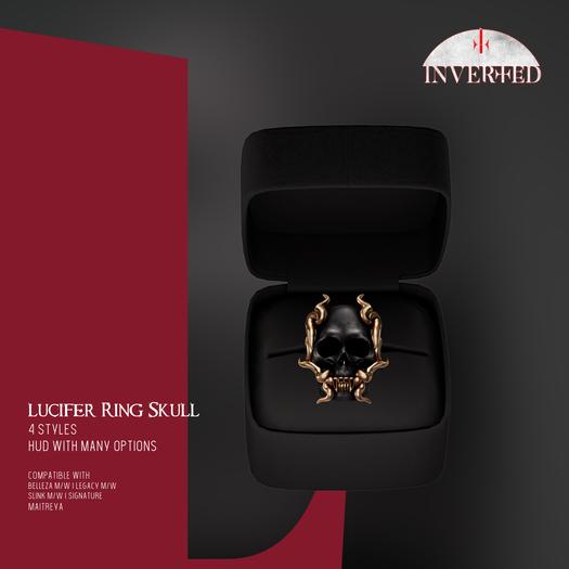 +INVERTED+ Lucifer Ring Skull -Black-