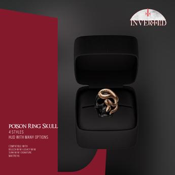 +INVERTED+ Poison Ring Skull -Black-