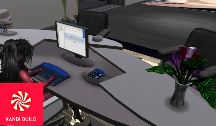Office set . office chair, office desk. keyboard. Animation, Monitor,
