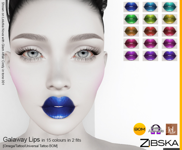 Zibska ~ Galaway Lips Lips in 15 colors in 2 fits with Omega appliers, tattoo and universal tattoo BOM layers