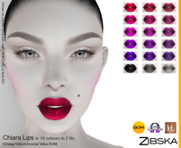 Zibska ~ Chiara Lips in 18 colors in 2 fits with Omega appliers, tattoo and universal tattoo BOM layers