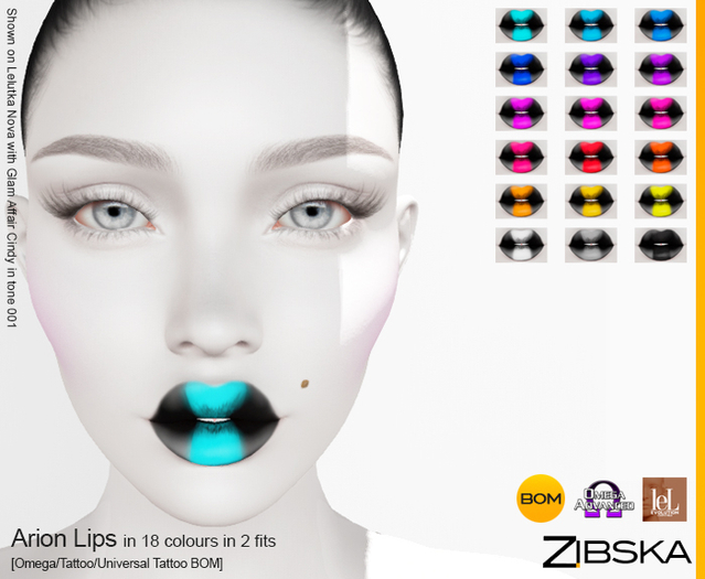 Zibska ~ Arion Lips in 18 colors in 2 fits with Omega appliers, tattoo and universal tattoo BOM layers